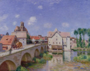 1893 (oil On Canvas) Framed Prints - The Bridge at Moret Framed Print by Alfred Sisley
