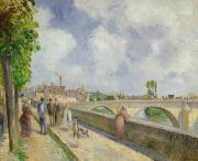 River Walk Paintings - The Bridge at Pontoise by Camille Pissarro