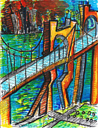 Cityscape Drawings - The Bridge  by Jon Baldwin  Art