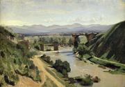 Crossing Painting Posters - The Bridge of Augustus over the Nera Poster by Jean Baptiste Camille Corot