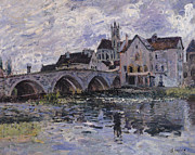 Spire Posters - The Bridge of Moret sur Loing Poster by Claude Monet