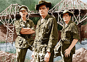 1957 Movies Prints - The Bridge On The River Kwai, From Left Print by Everett