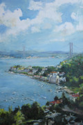 Seascape With Cloudy Sky Prints - The bridge over Bosphorus Print by Tigran Ghulyan