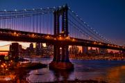 Manhattan Bridge Digital Art - The Bridges at Dusk by Chris Lord
