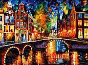 Cityscape Painting Prints - The Bridges Of Amsterdam Print by Leonid Afremov