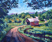 Roads Paintings - The Bridges of East Randolph Vermont by David Lloyd Glover