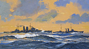 Naval Painting Framed Prints - The British cruisers HMS Exeter and HMS York  Framed Print by John S Smith