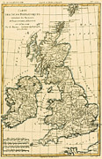 Vintage Map Drawings Prints - The British Isles Print by Guillaume Raynal
