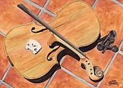 Music Painting Framed Prints - The Broken Violin Framed Print by Ken Powers