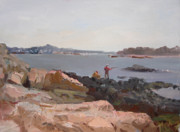 Bronx Paintings - The Bronx Rocky Shore by Ylli Haruni
