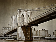 Kathy Jennings Framed Prints - The Brooklyn Bridge Framed Print by Kathy Jennings
