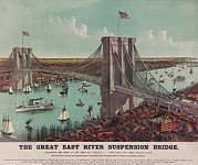 Lithographs Posters - The Brooklyn Bridge Viewed Poster by Everett