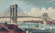 Lithographs Photos - The Brooklyn Bridge With Manhattan by Everett