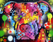 Animal Mixed Media Metal Prints - The Brooklyn Pitbull 1 Metal Print by Dean Russo