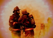 Fireman Pyrography Posters - The Brotherhood Poster by Diane Payne