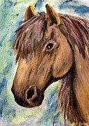 Shores Painting Framed Prints - The Brown Horse Framed Print by Abbie Shores