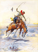 Rodeo Art Painting Posters - The Bucker by Charles M Russell Poster by Pg Reproductions