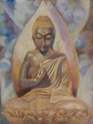 Pam Mccabe  Pastels Framed Prints - The Buddah Framed Print by Pamela Mccabe