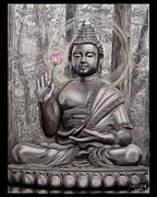 Religious Pastels Framed Prints - The Buddha   A Smile for Kasyapa Framed Print by Dennis Jones
