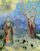 Pastels Posters - The Buddha Poster by Odilon Redon