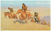 American Artist Paintings - The Buffalo Runners Big Horn Basin by Frederic Remington