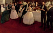 Society Paintings - The Buffet by Jean Louis Forain
