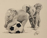 Soccer Drawings Originals - The Bully by Albert Casson