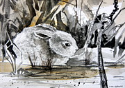 Realism Mixed Media Posters - The Bunny Poster by Mindy Newman