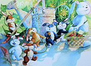 Nursery Room Pictures Paintings - The Bunny Trail by Hanne Lore Koehler