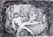 Christianity Drawings - The Burial of the Lord by Bill Joseph  Markowski