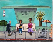 Shopping Cart Prints - The Bus Stop Print by Leah Saulnier The Painting Maniac