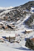 Ski Vacation Posters - THE BUSY CHAUDANNE IN MERIBEL the heart of meribel in the three valleys resort france Poster by Andy Smy