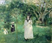 Morisot; Berthe (1841-95) Painting Metal Prints - The Butterfly Hunt Metal Print by Berthe Morisot