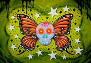 Sugar Skull Posters - The butterfly Poster by Jordana Hawen