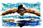 Swimmer Posters - The Butterfly Poster by Russell Pierce