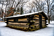 Log Cabin Digital Art Prints - The Cabin in the Woods Print by Bill Cannon