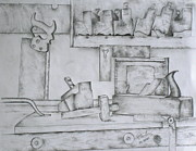 Planes Drawings Framed Prints - The Cabinetmaker I Framed Print by Christopher Keeler Doolin