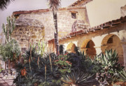 Historic Landmarks Posters - The Cactus Courtyard - Mission Santa Barbara Poster by David Lloyd Glover