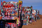 Mother Road Framed Prints - The Cadillac Ranch by Amarillo TX Framed Print by Susanne Van Hulst
