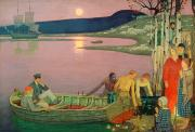 Fishing Boat Sunset Framed Prints - The Call of the Sea Framed Print by Frederick Cayley Robinson