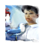 Male Portraits Digital Art Prints - The Calling - Out To Sea Print by Bob Salo