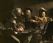Michelangelo Painting Metal Prints - The Calling of St. Matthew Metal Print by Michelangelo Merisi da Caravaggio
