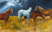 Horses Painting Framed Prints - The Calm After the Storm Framed Print by Frances Marino