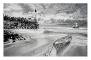 Lighthouse Drawings - The calm before the Storm by Sean OConnor