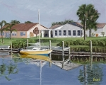 Boat Paintings - The Canal Awakens by Sodi Griffin