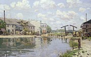 Reflective Framed Prints - The Canal Saint Martin Paris Framed Print by Alfred Sisley