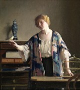 Chinese Woman Framed Prints - The Canary Framed Print by William McGregor Paxton