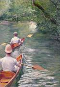 Paddles Posters - The Canoes Poster by Gustave Caillebotte