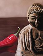 Buddhism Pastels Metal Prints - The Capsicum Monk Metal Print by Melanie Cossey
