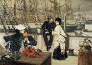 Deck Framed Prints - The Captain and the Mate Framed Print by Tissot